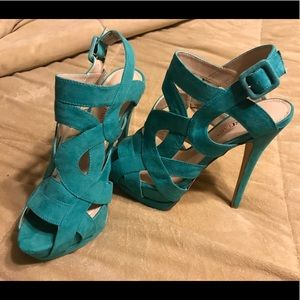 Just Fab teal strappy heels